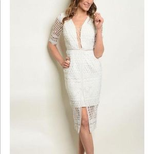 NWT White Cut Out Cocktail Dress Sz Med